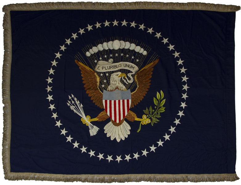 Extremely Scarce Set of Oval Office Flags, the 48-Star Flags Displayed in President Dwight D. Eisenhower's Oval Office in the White House -- 1 of 3 Known Sets From All U.S. Presidents in Private Hands