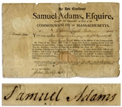 Samuel Adams Signed Military Appointment as Governor of Massachusetts