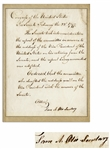 Samuel Otis Document Signed From 1797 as Secretary of the U.S. Senate -- Otis Confirms John Adams Retirement from the Senate on the Occasion of Adams Presidential Inauguration