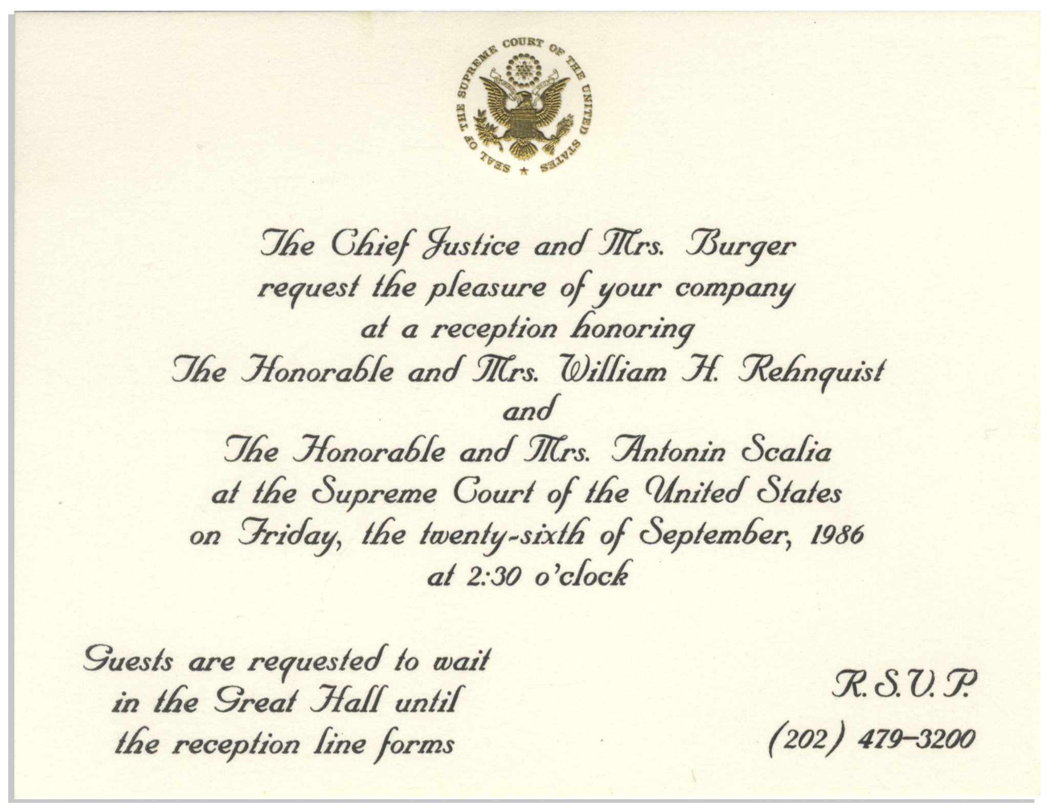 Lot Detail - Invitation to the Investiture Ceremony of
