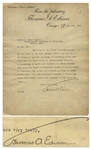 Thomas Edison Letter Signed Regarding Work Done by MIT to obtain unbiased data as to the merits of Automobile Trucks of various kinds