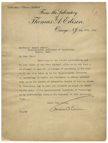 Thomas Edison Letter Signed Regarding Work Done by MIT to ''obtain unbiased data as to the merits of Automobile Trucks of various kinds''