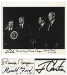 Three Presidents Signed Photo -- Ronald Reagan, Jimmy Carter & Gerald Ford Sign This 10 x 8 Photo