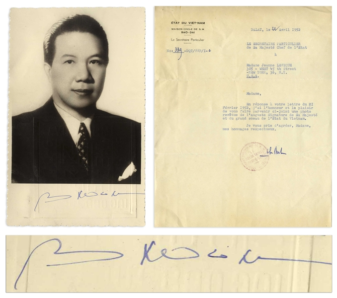 Bao Dai Signed Photo, the Last Ruling Emperor of Vietnam and the Man Who Named His Country Vietnam