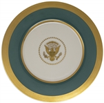 Very Rare Harry S. Truman White House Service Plate Measuring 11.375 -- Plate Features the New 1945 Presidential Seal, in Fine Condition With the 24kt Gold Rim