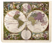 Gorgeous World Map, Circa 1700 During the Golden Age of Dutch Cartography -- Hand-Colored Map Shows Dual Hemispheres, Dual Polar Projections & Allegorical Scenes Representing the Four Seasons