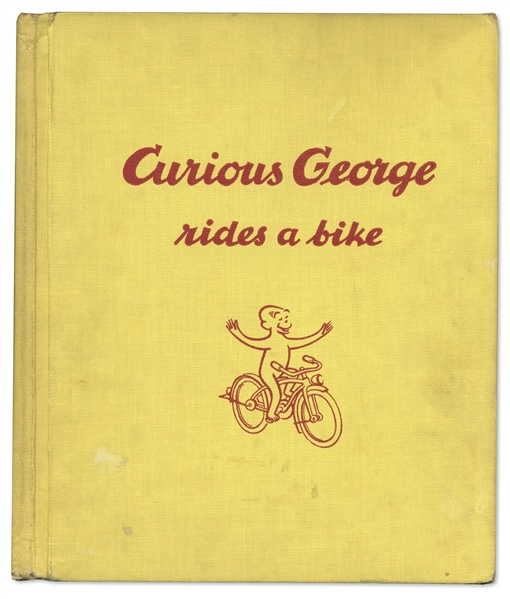 Curious George First Edition, Signed by H.A. Rey With His Original Ink Drawing of Curious George -- ''Curious George Rides a Bike'' From 1952
