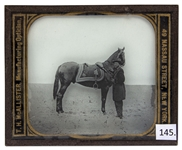 Civil War Magic Lantern Slide -- General Ulysses S. Grant With His Famed Horse Cincinnati, at Cold Harbor in 1864