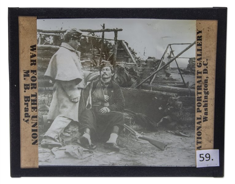 Civil War Magic Lantern Slide -- Showing a Wounded Zouave Soldier