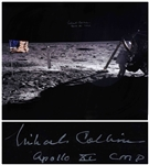 "Michael Collins Signed 20"" x 16"" Photo of the Moon, Capturing Both Neil Armstrong and the United States Flag"