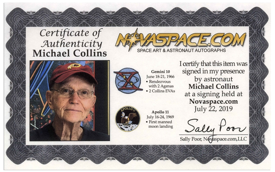 Michael Collins Signed 20 x 16 Photo of the Moon, Capturing Both Neil Armstrong and the United States Flag