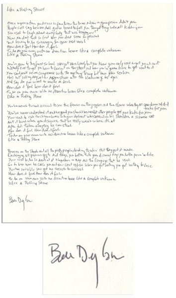 Bob Dylan Signed, Handwritten Lyrics to Like a Rolling Stone -- The Quintessential Rock Song -- With COA From Dylan's Manager