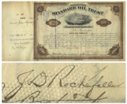 John D. Rockefeller Signed Stock Certificate for Standard Oil Trust -- Signed by Rockefeller as President in 1882 to Oil Tycoon John Huntington