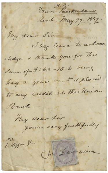 Charles Darwin Letter Signed From 1869, Written to His Land Agent
