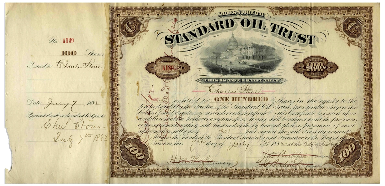 John D. Rockefeller Signed Stock Certificate for Standard Oil Trust From 1882