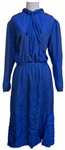 Margaret Thatcher Personally Owned Dress, a Vivid 1980s Blue Silk Party Dress