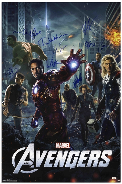 Stan Lee Signed The Avengers Poster -- Also Signed by 8 Members of the 2012 Film's Cast