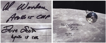 "Al Worden & Dave Scott Signed 20"" x 16"" Photo of the Apollo 15 Command Module Against the Moon -- Worden Additionally Writes ""Earth: A distant memory seen in an instant of repose"""