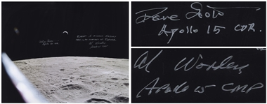"Al Worden & Dave Scott Signed 20"" x 16"" Photo of the Earth From a Lunar Vantage Point -- Worden Additionally Writes ""Earth: A distant memory seen in an instant of repose"""