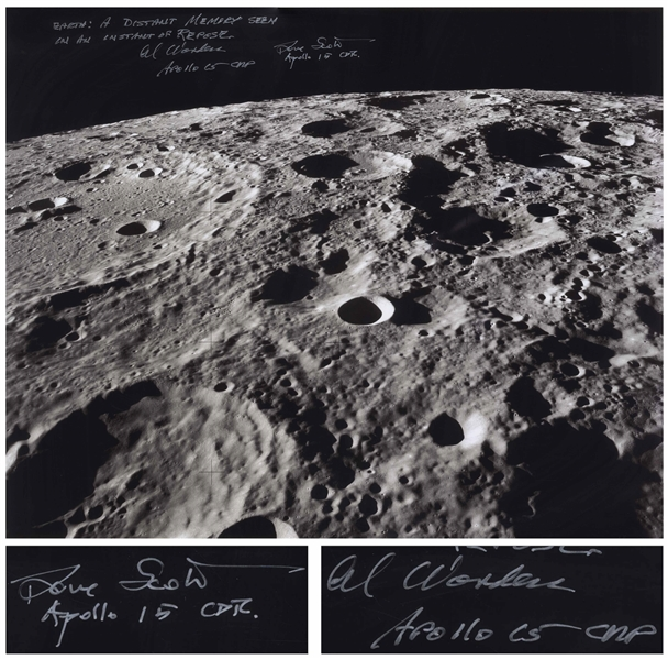 Al Worden & Dave Scott Signed 20 x 16 Photo of the Moon's Surface -- Worden Additionally Writes His Famous Quote About Seeing Earth From the Moon