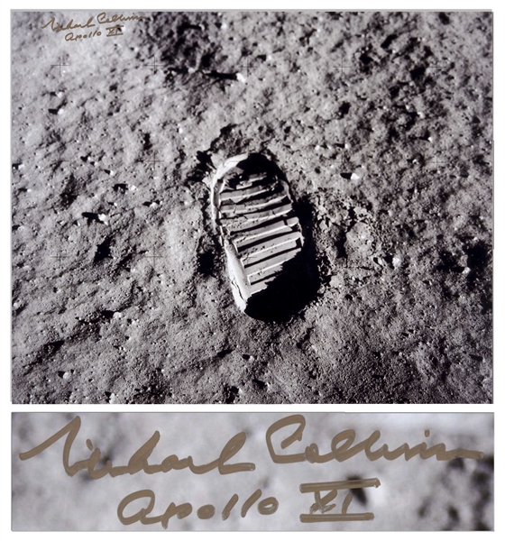 Michael Collins Signed 20 x 16 Photo of the First Footprint Upon the Moon