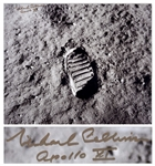 "Michael Collins Signed 20"" x 16"" Photo of the First Footprint Upon the Moon"