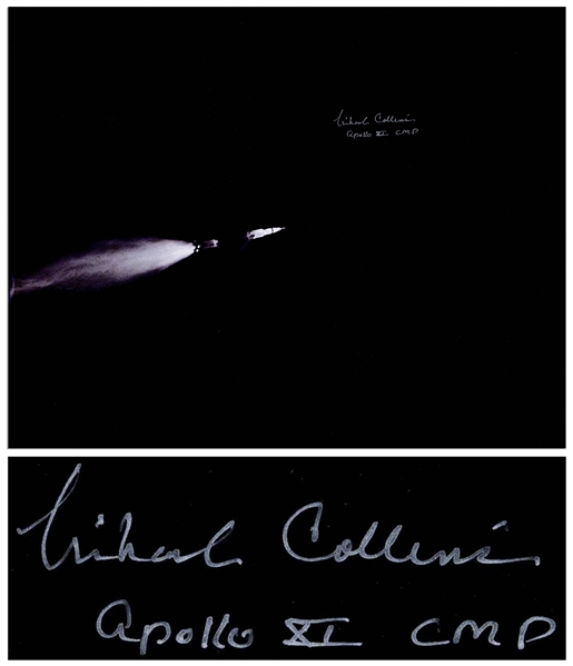 Michael Collins Signed 20 x 16 Photo of the Apollo 11 Saturn Rocket in Space