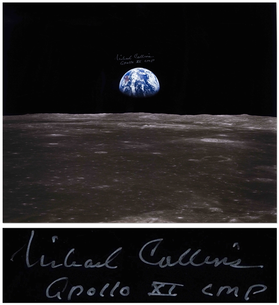 Michael Collins Signed 20 x 16 Photo of the Earth From Space