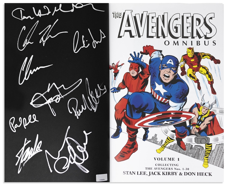 Stan Lee Signed The Avengers Omnibus Coffee Table Book -- Also Signed by 8 Members of Superhero Squad Including Chris Hemsworth & Chris Evans