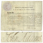John Adams Military Document Signed as President, Appointing a Midshipman to the Navy in 1799 During the French-American Quasi-War