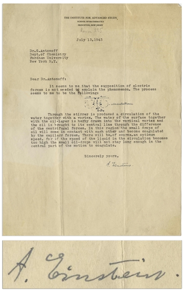 Albert Einstein Letter Signed From 1943 With His Hand-Drawn Diagram -- Einstein Helps Solve a Problem for the National Defense Research Committee, the WWII Task Force That Headed the Manhattan Project