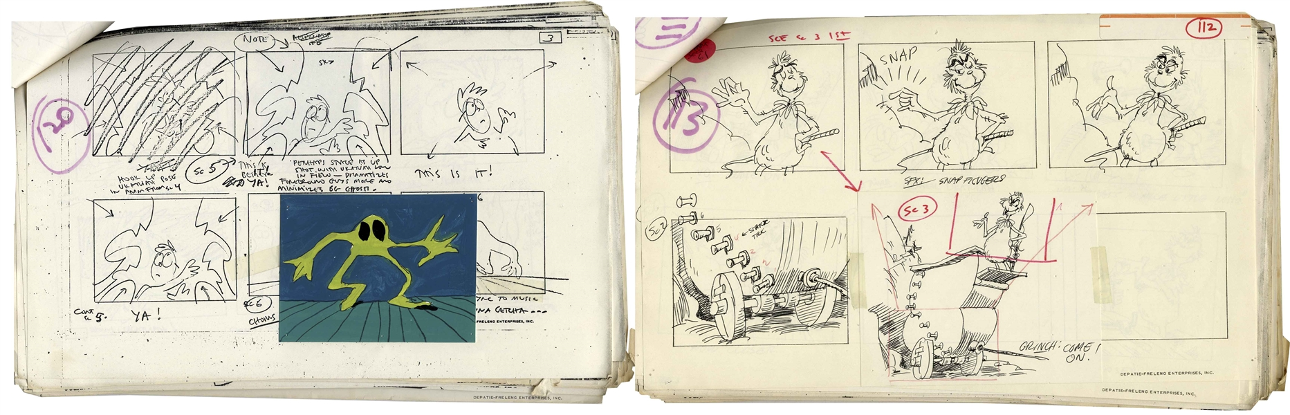 Original 1977 Storyboards for the Dr. Seuss ''Halloween Is Grinch Night'' Special -- Over 150 Pages of Graphic Storyboard Art With Narration Matching the Emmy Winning TV Special