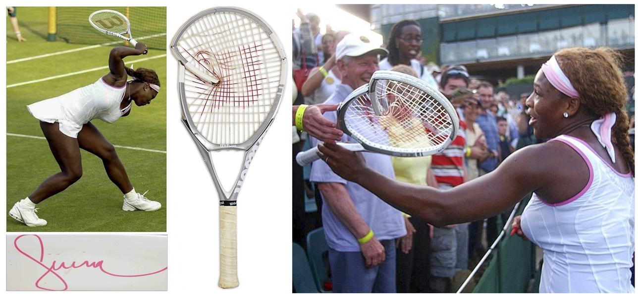 Serena Williams' Signed Tennis Racket From Wimbledon 2005 -- The Racket That Williams Famously Smashed After Losing the First Set in the First Round Before Coming Back to Win the Match