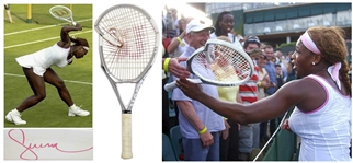 Serena Williams Signed Tennis Racket From Wimbledon 2005 -- The Racket That Williams Famously Smashed After Losing the First Set in the First Round Before Coming Back to Win the Match