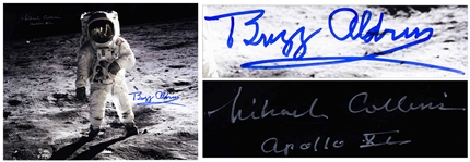 "Buzz Aldrin and Michael Collins Signed 20"" x 16"" Photo as Aldrin Walks on the Moon -- With Novaspace COAs"