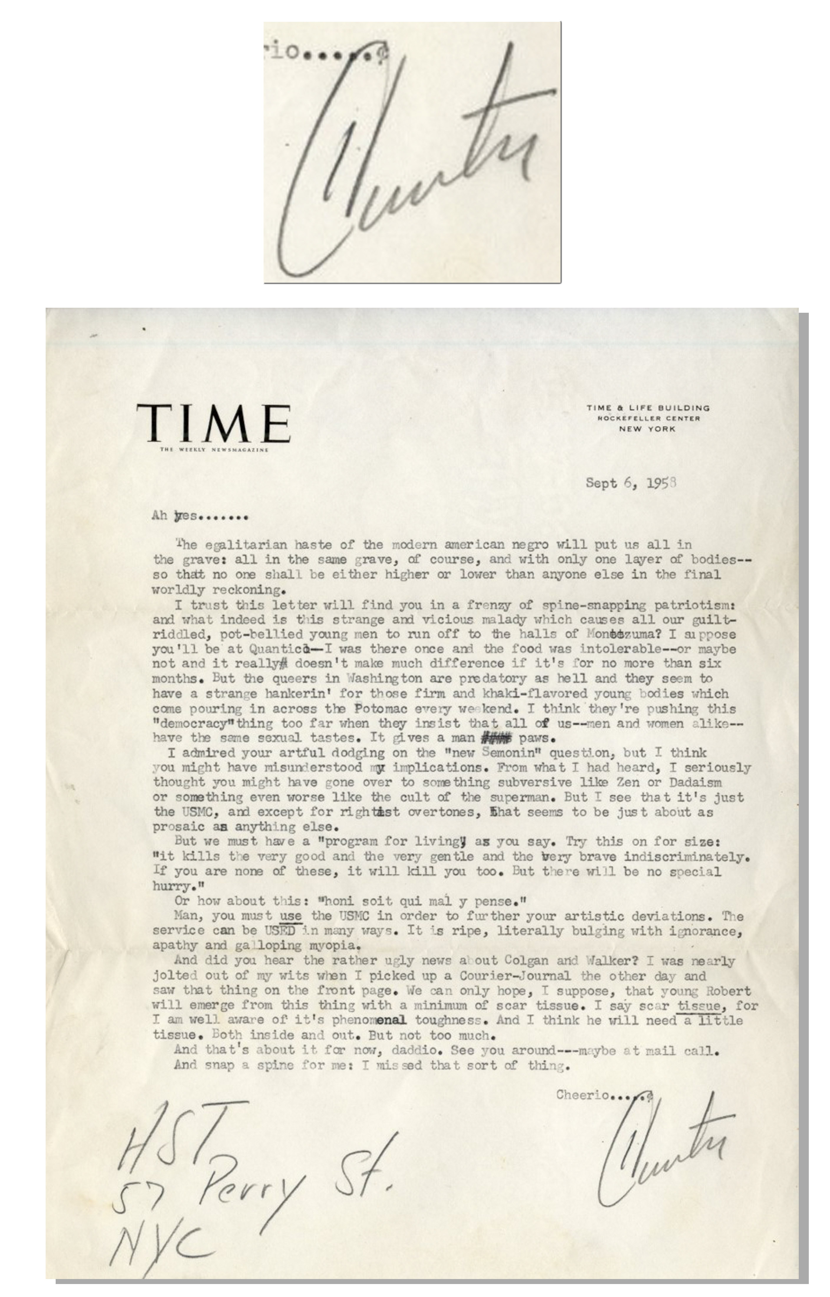 Item Detail - Hunter S. Thompson Letter Twice-Signed as a ...