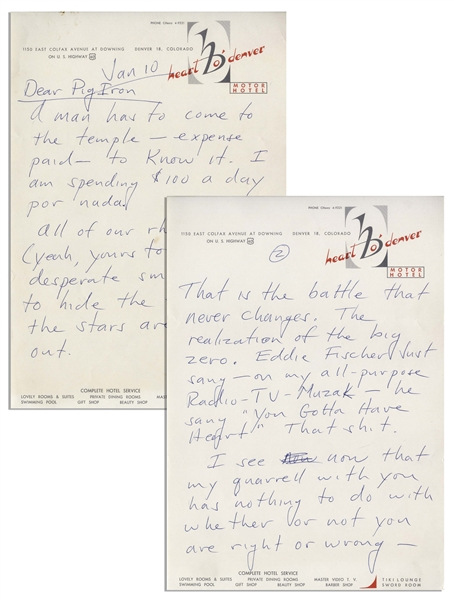 Hunter S. Thompson Autograph Letter Signed -- …No amount or quality of Journalism can preserve that fine, high sound…maybe fiction will come closer…