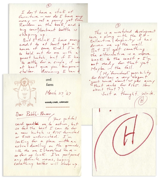Hunter S. Thompson Autograph Letter Signed From 1967 -- …not a penny yet from Random on the book, and a big court/contract battle is shaping up…