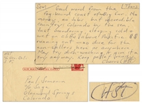 "Hunter S. Thompson Autograph Letter Twice-Signed From Big Sur in 1960 -- ""…incredible country: Colorado by the sea…"""