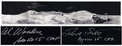 "Al Worden & Dave Scott Signed Panoramic 40.5"" x 8.5"" Photo of the Moons Surface -- Worden Additionally Writes His Famous Quote About Seeing Earth From the Moon"