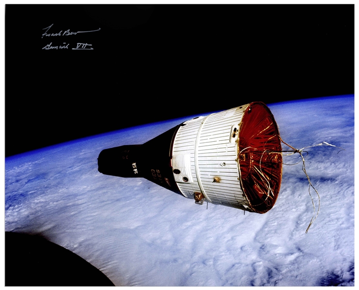 Frank Borman Signed 20 x 16 Photo of the Golden Ribbons Gemini VII Spacecraft