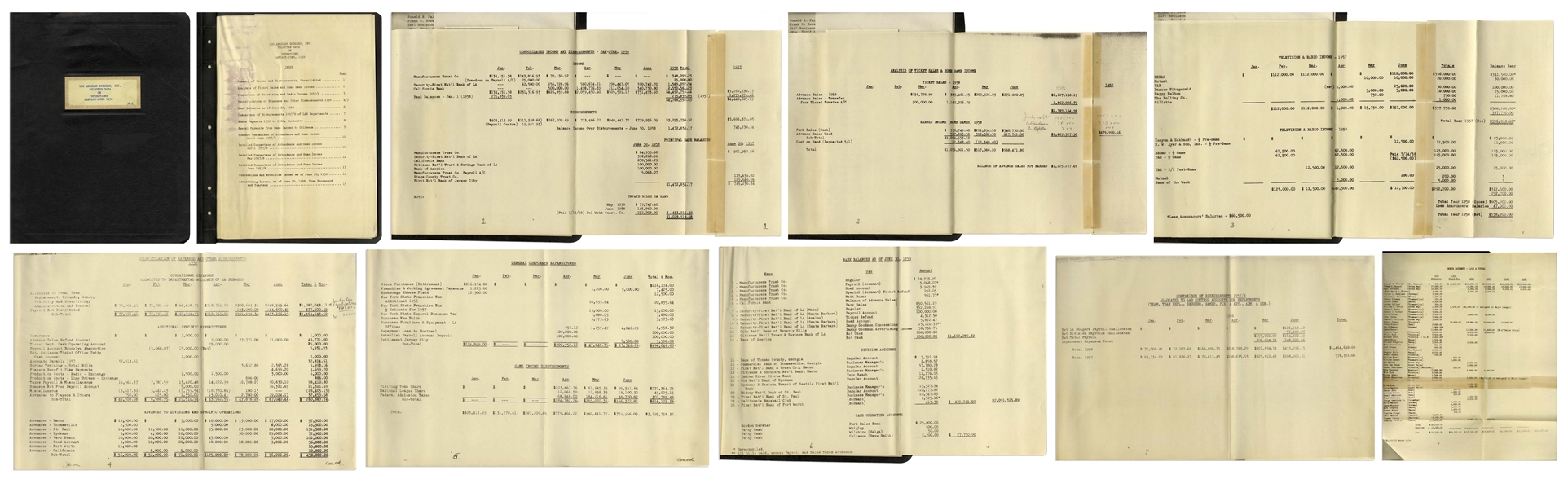 Lot of 55 Official Financial Ledgers for the Dodgers From 1924-1965 -- Covering Their Move to LA From Brooklyn, Player Salaries, Ticket Sales, Manager & Scout Salaries, Player ''Depreciation'' & More