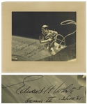 "Edward White 14"" x 11"" Signed Photo From the Gemini IV Mission Showing White Spacewalking"