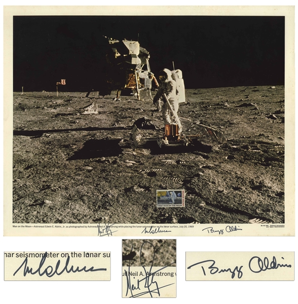 Apollo 11 Crew Signed 20 x 16 Lithograph -- Bold, Uninscribed Signatures by All Three
