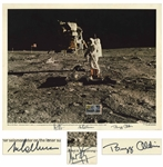 "Apollo 11 Crew Signed 20"" x 16"" Lithograph -- Bold, Uninscribed Signatures by All Three"