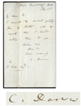 Charles Darwin Autograph Letter Signed From 1849 on Mourning Stationery