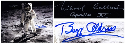 "Michael Collins & Buzz Aldrin Signed 20"" x 16"" Photo of the First Lunar Landing -- With Novaspace COAs"