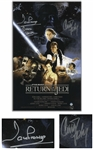 "Carrie Fisher & Darth Vaders David Prowse Signed 10"" x 16"" Movie Poster Photo for ""Return of the Jedi"" -- With Steiner COA"