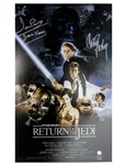 "Carrie Fisher & Darth Vader Signed Movie Poster From ""Return of the Jedi"""