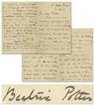 "Beatrix Potter Autograph Letter Signed -- ""…It is rather a shame to kill them so young; one has no sentimental feeling about a large bacon pig. I have made drawings of it and a plaster model…"""